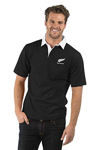 Neuseeland Aufgeld Kurzarm Rugby Hemd - New Zealand Short Sleeve Rugby Shirt - Herren & Damen - Farbe Schwarz - XS bis 2XL (Schwarz, L) (Sleeve Short Rugby)
