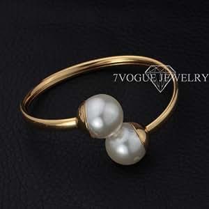 GOMO Big Pearl Beads Cuff Bracelets Unisex Jewelry 18K Real Gold Plated Bracelets & Bangles B1215