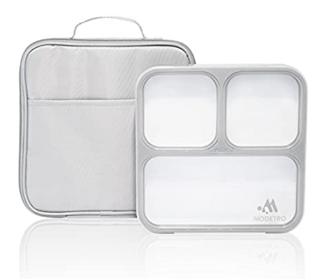 Bento Lunch Box - 3 Portion Control Leak Proof Compartments - Includes Matching Adult Insulated Lunch Bag - Ultra Slim Lunchbox Container (Cool