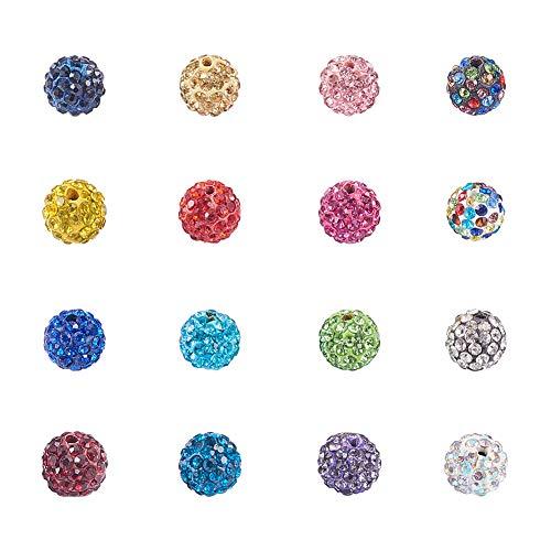 NBEADS 100 STÜCKE Mischfarbe Pflastern Disco-Kugel Perlen, 10mm Ton Strass Kristall Shamballa Perlen für DIY Schmuck machen