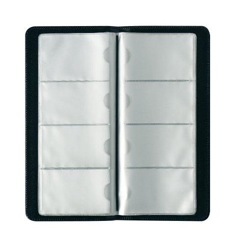 Herlitz 5505011 Visitenkartenmappe für 128 Karten, schwarz Schwarz Utensil