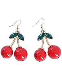 BOOLAVARD Belle Red Cherry Fruit Ear Stud cristal strass Boucles d'oreilles Charme Mode