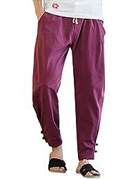 Harem Pantalón Hombre Casual Anchos Vintage Cintura Elástica Pantalones ... c8e30004d97f