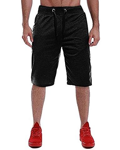 MODCHOK Homme Shorts Bermuda Pantacourt Jogging Sport Poches Casual Taille Élastique (L, Noir 3)
