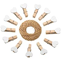 jijAcraft Heart Pegs,100Pcs Mini Wooden Clothespins, White Photo Paper Clips with 30 Meters Jute Twine for DIY Decorations
