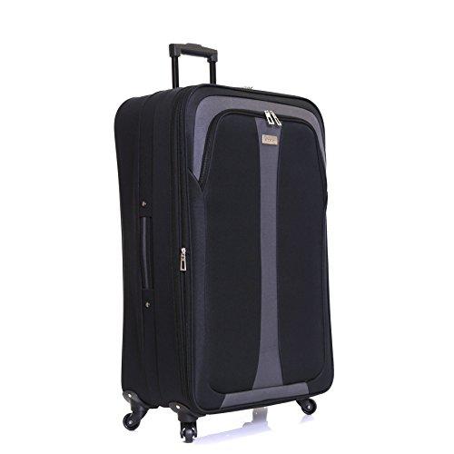 Slimbridge Andalousie Bagage Extensible XL - Très Grande 79 cm Valise Souple Légere à 4 Roulettes, Noir
