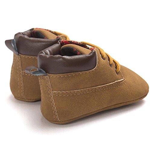 Tonsee Bébé Toddler garçon fille Soft Sole PU cuir Antislip premières chaussures marcheurs Marron 2