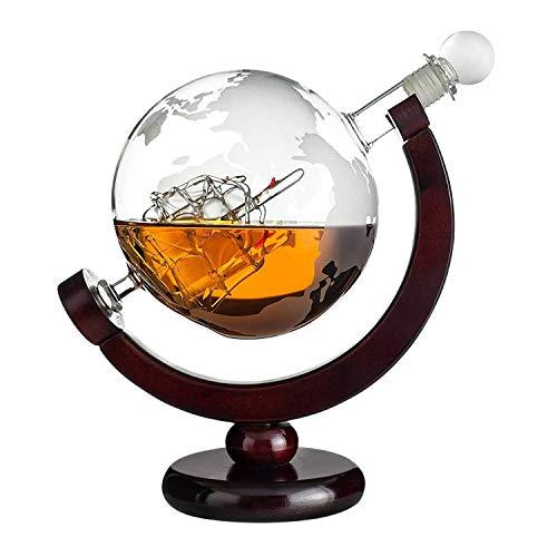 Whiskykaraffe Globus: gravierte Glas Karaffe mit Segelschiff im Inneren und Weltkarte - Dekanter Flasche 850 ml - Geschenke für Männer mit Gravur