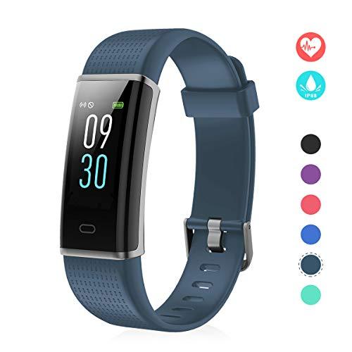 EFO SHM Fitness Tracker mit Pulsmesser, Schrittzähler Uhr Fitness Armband Wasserdicht Schwimmen Aktivitätstracker Schlafanalyse Kalorienzähler Anruf/SMS Kompatibel mit iPhone und Android(Blau grau)