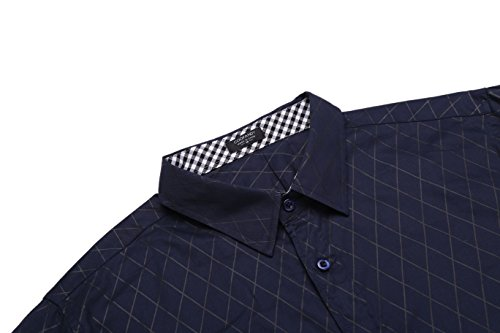 BURLADY Herren Hemd Slim Fit Diamant-Gitter Karohemd Kariert Langarmshirt Freizeit Business Party Shirt für Männer