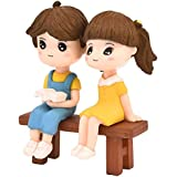 P S Retail Sweety Lovers Couple Reading Style Figurine Miniature- Style 15 - (2 pcs/Set)