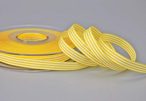 finemark Dekoband (0,55€/m) Stripes GELB 9 mm x 25 m (Rolle) Streifen Geschenkband Schleifenband Stoffband gestreift elegant Geschenkverpackung Geburtstag Ostern Dekoration Premium Band Karten