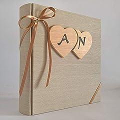 Idea Regalo - Album fotografico innamorati in tela di lino + cuori legno e iniziali personalizzabili WEDDING- SAN VALENTINO- ANNIVERSARIO