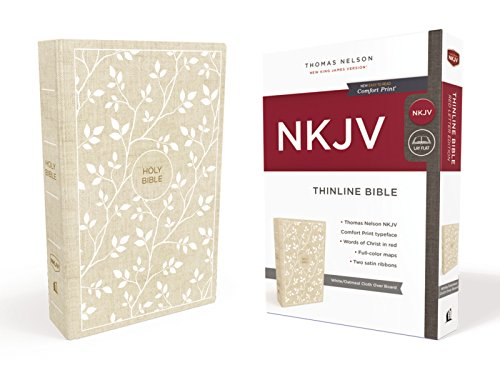 a4267705ae NKJV, Thinline Bible, Cloth over Board, White/Tan, Red Letter Edition