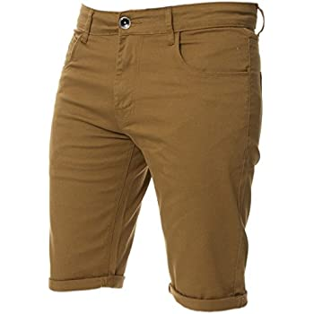 055c5da1ef New Kruze Mens Slim Fit Stretch Cotton Chino Shorts Summer Casual Smart