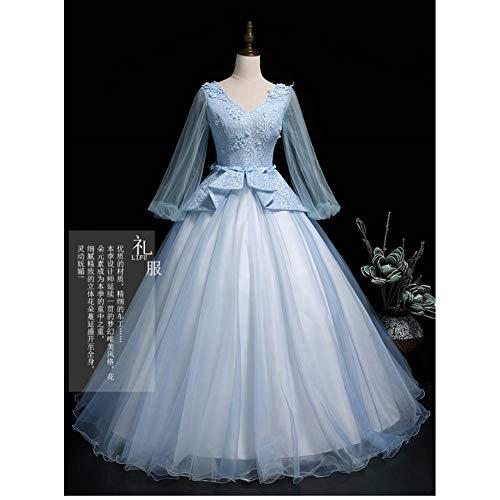 QAQBDBCKL hellblauer spitzenschleier Rokoko ballkleid langes Kleid mittelalterliches Kleid...