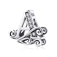 BETTY&SARAH 925 Sterling Silver Letter A Charms for Pandora Bracelets Alphabet Initial Beads Jewelry Gift for Women