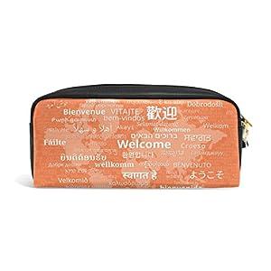 Bienvenido en varios idiomas mydaily mundo mapa estuche lápiz bolsa de cosméticos bolso de la bolsa del monedero