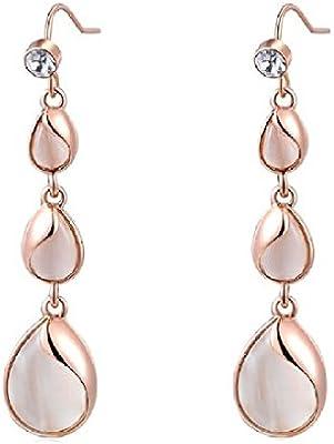 2015 para mujer Elegant bañado en oro rosa pendientes largos con forma de pétalo de tuerca de joyería Juego de pendientes de retención exclusiva tres auriculares de-anillo