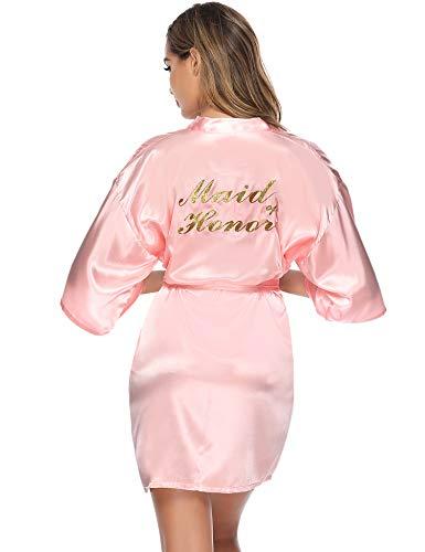 Aibrou Bata Novia Corto Batas Dama Honor Kimono Mujer