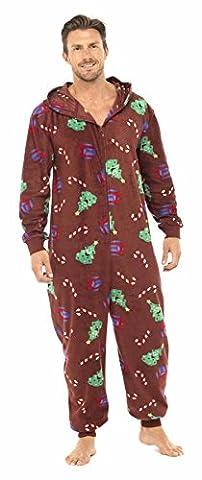 Tom Franks Mens Xmas Fleece Onesie All In One Pyjama Nightwear M/L Wine