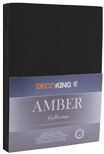 DecoKing 17401 80x200-90x200 cm Spannbettlaken schwarz 100% Baumwolle Jersey Boxspringbett Spannbetttuch Bettlaken Betttuch Black Amber Collection - 2