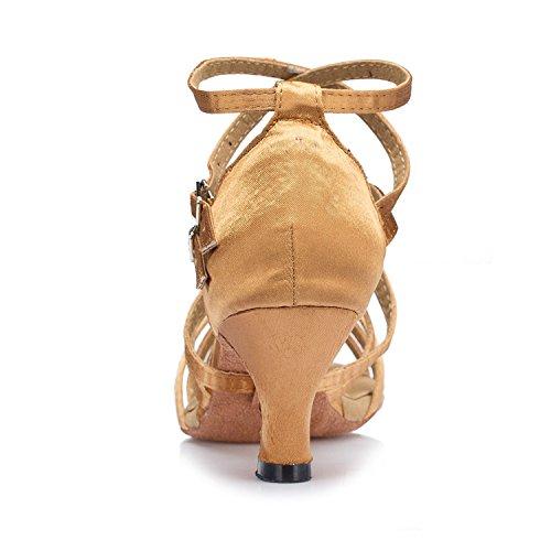 Minitoo–th121Croce Strap Kitten Heel Satin Matrimonio Ballo Latina taogo Dance Sandals Brown