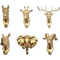 MagiDeal 6pcs Gancho de Resina Diseño de Cabeza de Animal Suspensión de Pared Soporte de Toalla de Sombrero Color Dorado