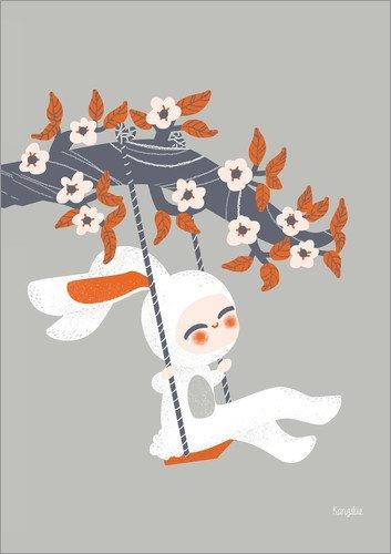 Poster 13 x 18 cm: Kostümiertes Kaninchen von Kanzi LUE - hochwertiger Kunstdruck, neues Kunstposter