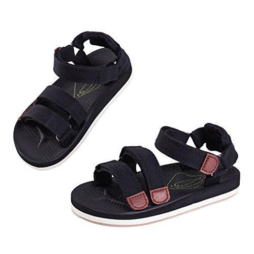 Yeeper Sandales bout ouvert Enfants Bébé Chaussures de marche Tongs Fille Garçon Été Léger Souple Couleur camouflage Noir