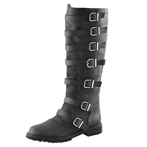 Dorical Damen Retro Langschaftstiefel - Übergrößen Damenstiefel Schnallestiefeletten Flandell Stiefel -Blockabsatz 3 cm klassische Casual Slip-On Ankle Boots Schuhe Gr 35-43(Schwarz,40 EU)