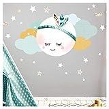 Little Deco Wandsticker Mond & Wolken I Mint/Grau XL - 97 x 51 cm (BxH) I Kinderzimmer Wandtattoo Junge Baby Deko Zimmer DL246-2-XL