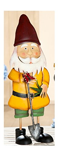 Gilde Metall-Gartenzwerg Deko-zwerg Gartendeko Gartenfigur stehend mit Spaten, 17x20x58 cm
