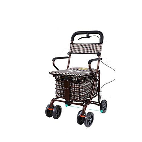 Hand-LKW DELLT- Der ältere Einkaufswagen-kreative Handbremse wenig ziehen die Auto-Laufkatze kann schieben, um faltbaren Walker vier Einkaufsroller älteren Rest-Autos zu sitzen (Farbe : Bronze)