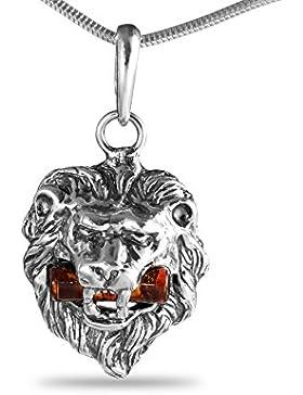 Bernstein Ketten-Anhänger Sternzeichen Löwe Kopf 925 Silber 6.7g #1538