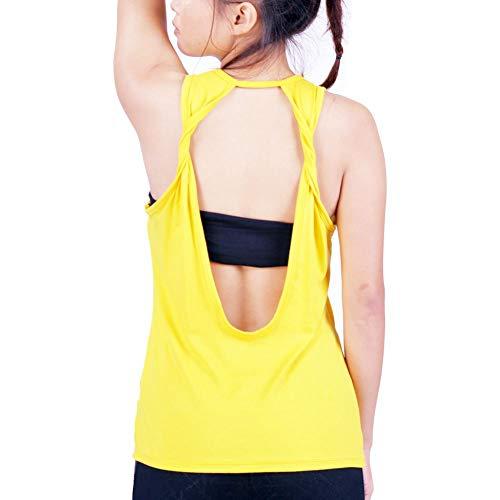 Lofbaz Damen sexy Twist zurück öffnen Yoga Hemd trainieren Kleider Sportart Muskelshirt Oberteile - Gelb - M -