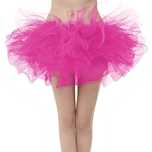 GirstunmBrand Damen 50er Mini Tüll Tutu Puffy Ballett Bubble Rock Fuchsie-Plus Size