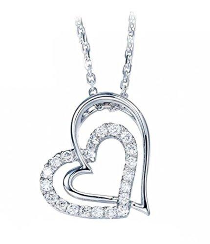 Beydodo Kette 925 Sterling Silber Damen Frauen Weiß Kristall Zirkonia Herzen Anhänger Halskette 20x10mm