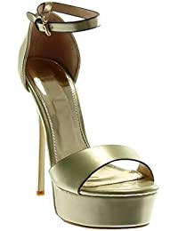 Angkorly - Scarpe Moda Sandali Decollete con Tacco Stiletto Zeppe con  Cinturino alla Caviglia Donna Verniciato b4f816c3629