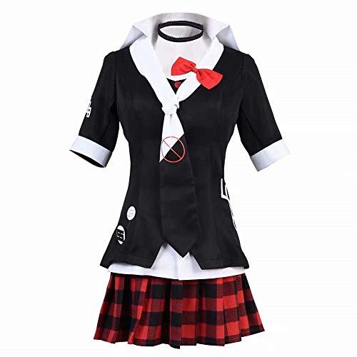 Mangom Mujeres/Niñas Halloween/Navidad Junko Enoshima Disfraz de Cosplay Tema Fiesta Uniforme Vestido Casual Chaqueta Abrigo Juego Anime Tie Top Falda Uniforme de Estudiante