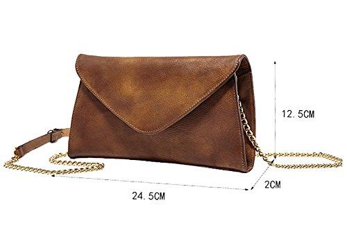 Genda 2Archer Bag Super Slim Vera Tracolla in Pelle Borsa Messenger per le Donne (24.5cm*2cm*14.5 cm) Marrone