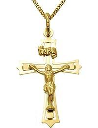9ct Gold Serif Crucifix Cross With Jewellery Gift Box V9m9j7Z