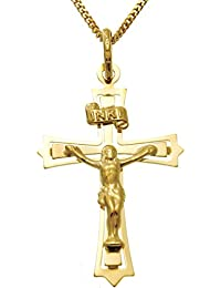 9ct Gold Serif Crucifix Cross With Jewellery Gift Box