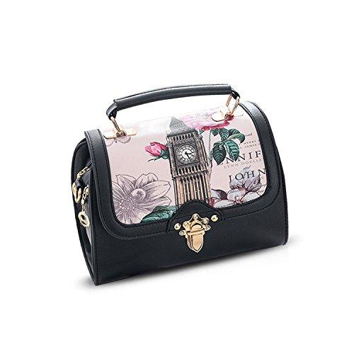 NICOLE&DORIS Mode Frauen Umhängetasche Handtaschen Tote Geldbörse Kleine Tasche Crossbody Tasche Satchel PU Leder Schwarz