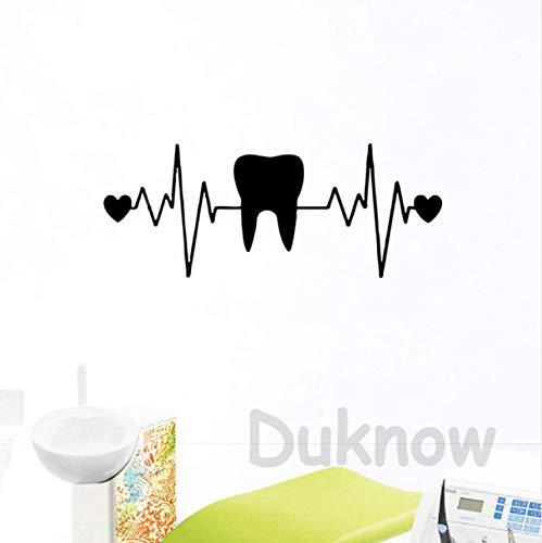Smntt Zähne Zahnarzt Zahnmedizin Herz EKG Vinyl Wandkunst Aufkleber Zahnklinik Dekor Zahn Wandtattoos Badezimmer Dekor