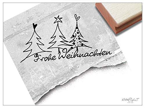Stempel Weihnachtsstempel FROHE WEIHNACHTEN und Weihnachtsbäume - Textstempel Karten Geschenkanhänger Geschenk Weihnachtsdeko - zAcheR-fineT