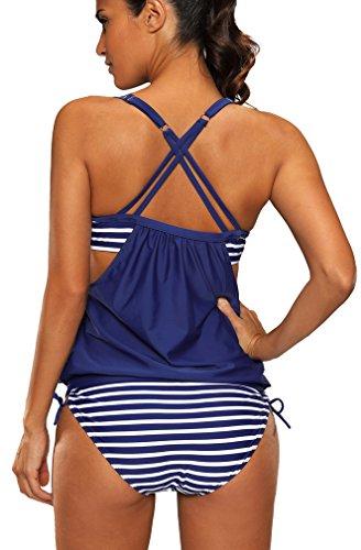 Bettydom Damen Tankini mit gestreiftem Muster und Cut Outs, S-3XL Swimsuit 2 Marineblau