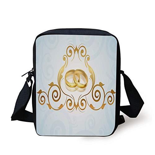 Wedding Decorations,Vintage Style Victorian Ornaments on Blue Backdrop Rings Classical,Light Blue Gold Print Kids Crossbody Messenger Bag Purse (Anime Wallet Zipper)