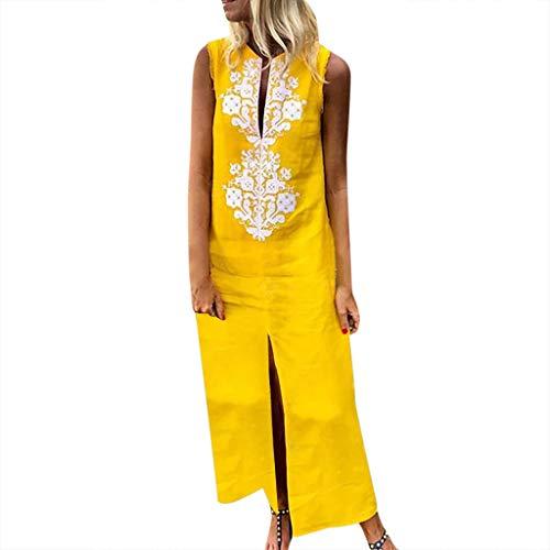 9be7686b7eda25 Cdoston Frauen Mode Casual Sommer Leinen Langes Kleider Bedruckte Ärmellose  V-Ausschnitt Maxi-Kleid Split Hem Baggy Kaftan Langes Strandkleid (L, Gelb  D)