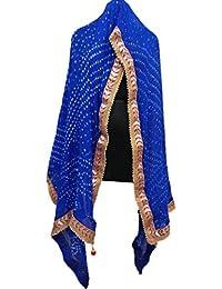 Jaipuri Rajasthani Art Silk Bandhej (Bandhani) Dupatta With Gota Patti Border & Moti Mala